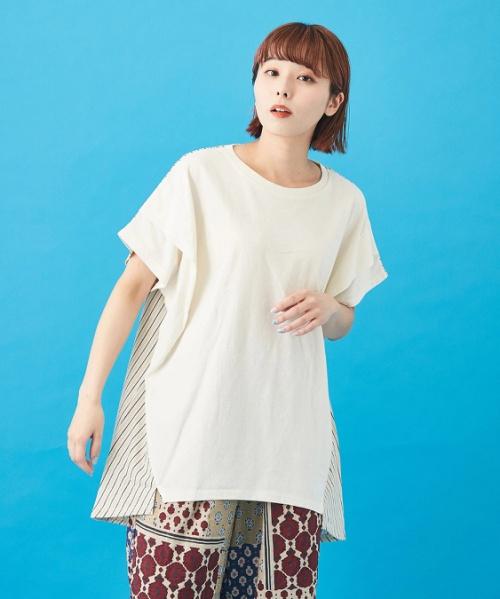 WEB限定 OE天竺 × ストライプ × フライス 肩タック Tシャツ