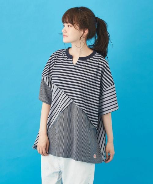 WEB限定 ボーダーMIX 斜め切替 半袖Tシャツ