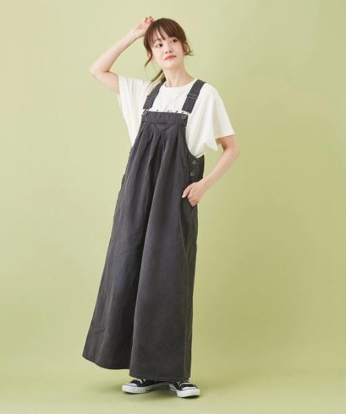 WEB限定 製品染め タック ジャンパースカート