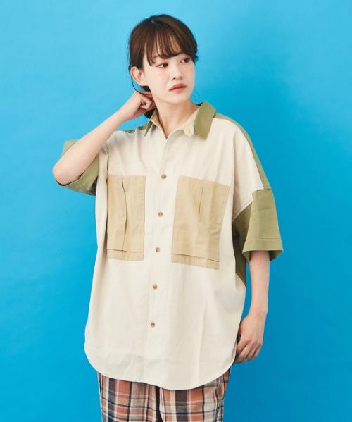 WEB限定 薄手ツイル × 天竺 5分袖 ワークシャツ