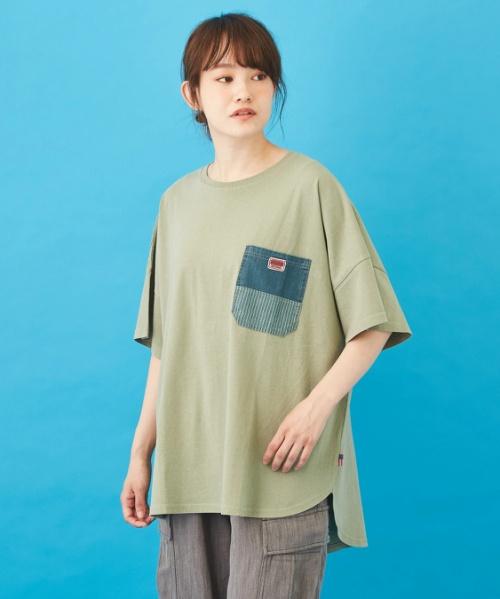 WEB限定 USコットン 天竺 × フライス 半袖 ラウンド裾 ヒッコリーポケット Tシャツ