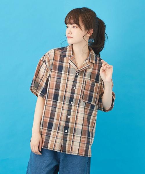 先染めチェック オープンカラーシャツ