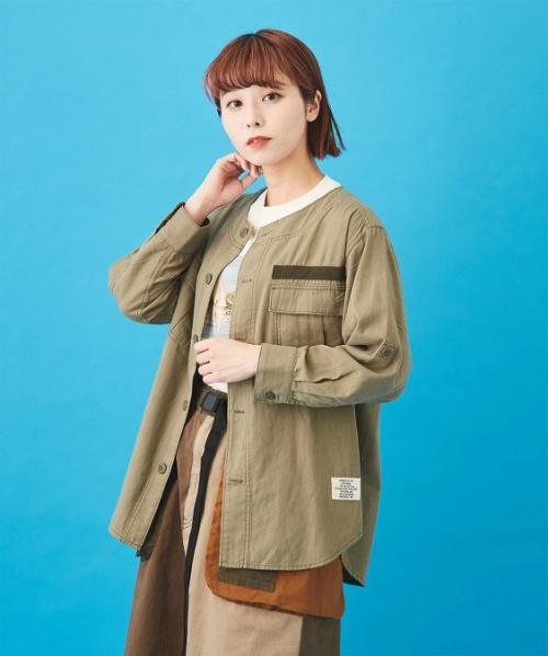 甘織ツイル ミリタリーシャツジャケット