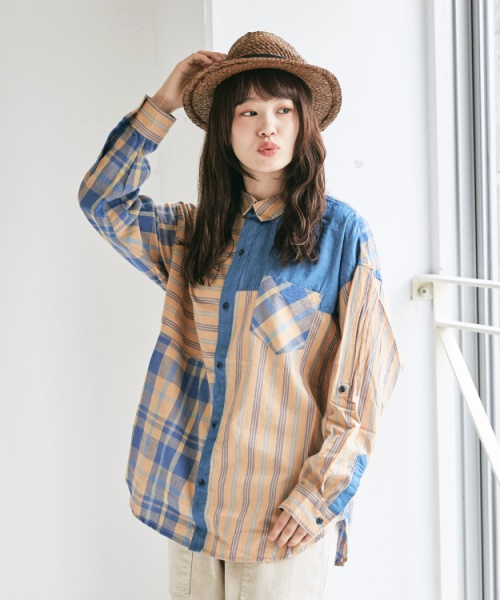 先染めストライプ × チェック 切替 ビッグシャツ
