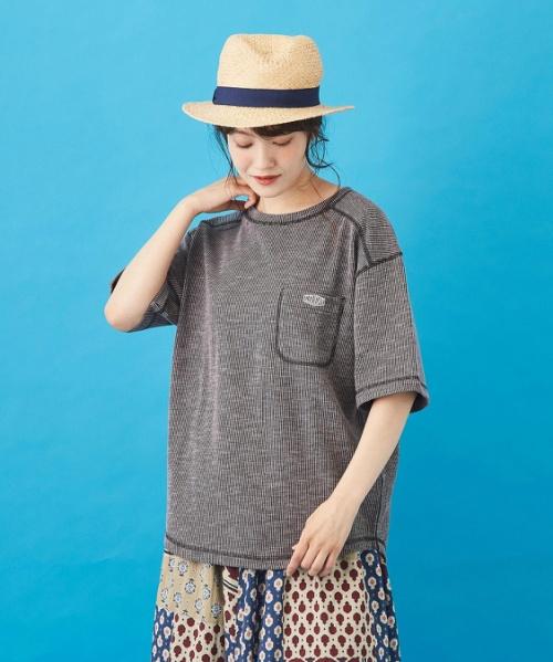 杢調リブ 配色ステッチ Tシャツ