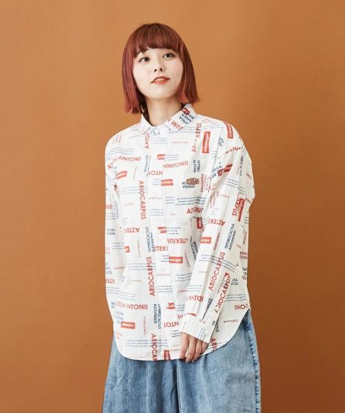 ブロードクロス 総柄プリント レギュラーシャツ