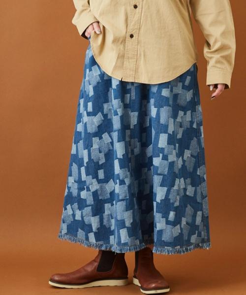 ジャガード織り デニム ギャザー フレアスカート
