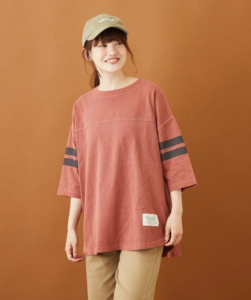 空紡糸天竺 ピグメント染め 袖ライン ビッグTシャツ
