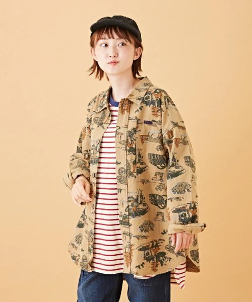 アウトドアプリント ツイル シャツジャケット