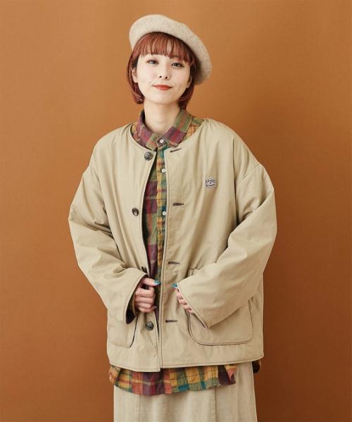 綿ナイロン × フリース ノーカラー リバーシブル ジャケット
