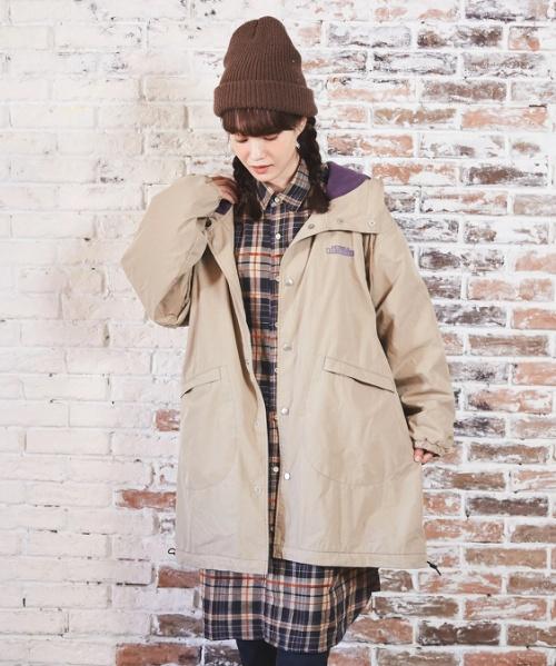 綿ナイロン × フリース フードコート