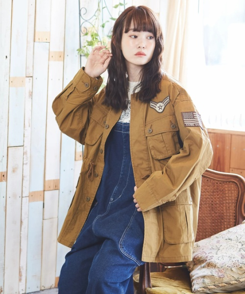 綿ナイロンツイル ミリタリー ノーカラー ジャケット