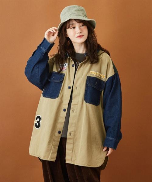 綿ツイル ビッグワッペン シャツジャケット