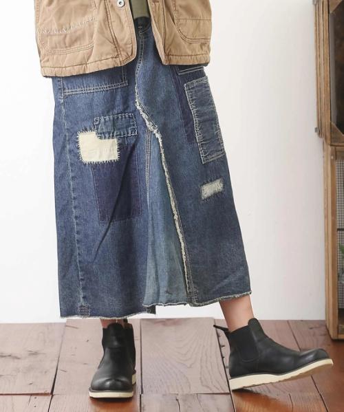 デニムリメイク風Aラインスカート