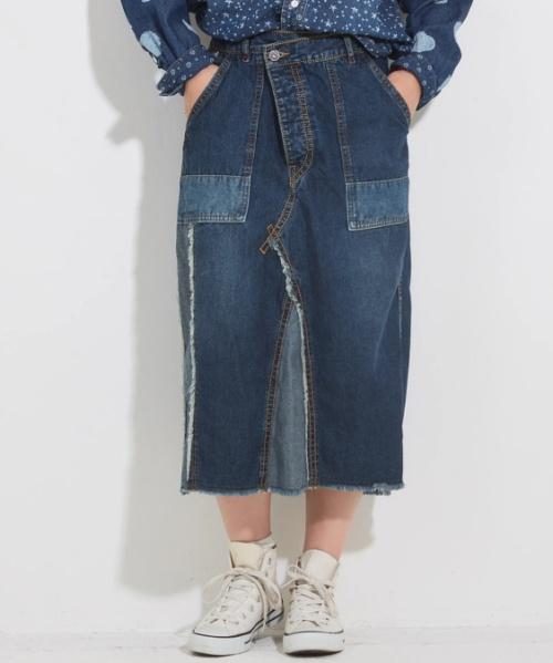 【セール除外商品】デニムリメイク風ストレートスカート
