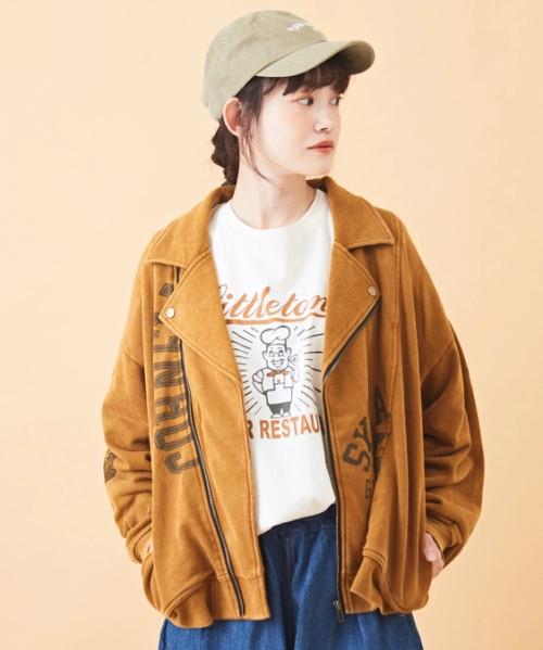 【セール除外商品】30/10裏毛リメイク風ライダースジャケット