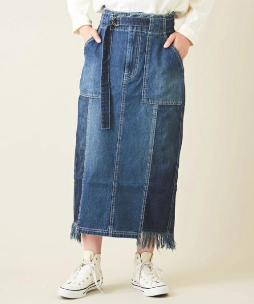 【セール除外商品】11オンス×9オンスデニムフリンジナロースカート