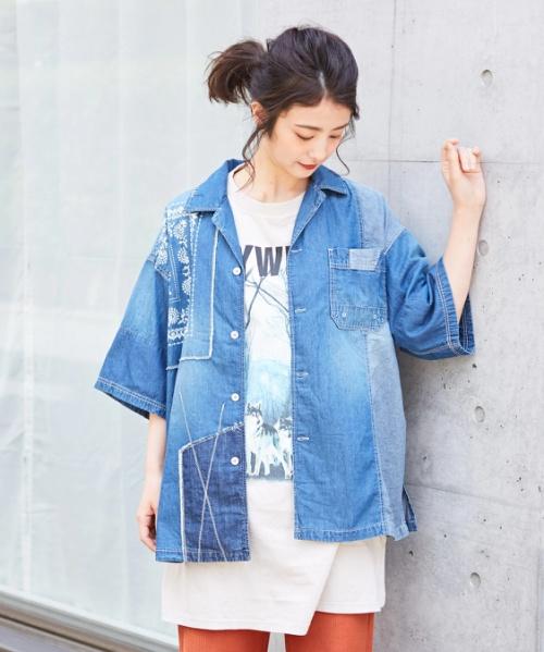 5オンスデニム オープンカラーシャツ