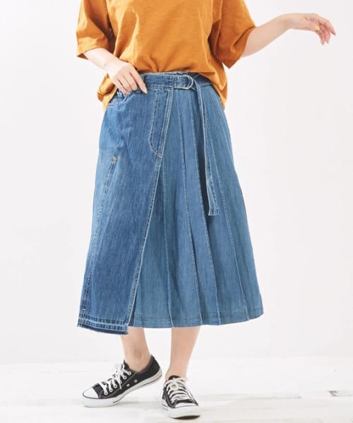 【セール除外商品】9オンスデニム ラップ プリーツスカート