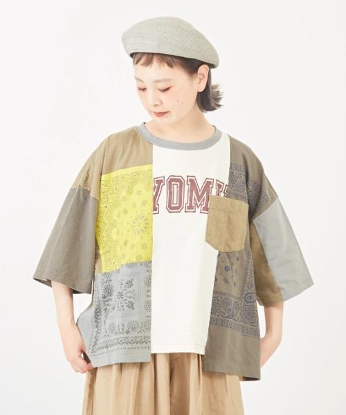 天竺 リメイク風 クルーネック Tシャツ