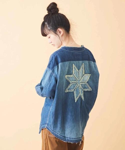 【セール除外商品】7.5オンスデニム 取外しフード リメイク風 シャツ