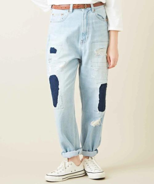 【セール除外商品】12.5オンスデニム ハイウエスト リメイク風 パンツ