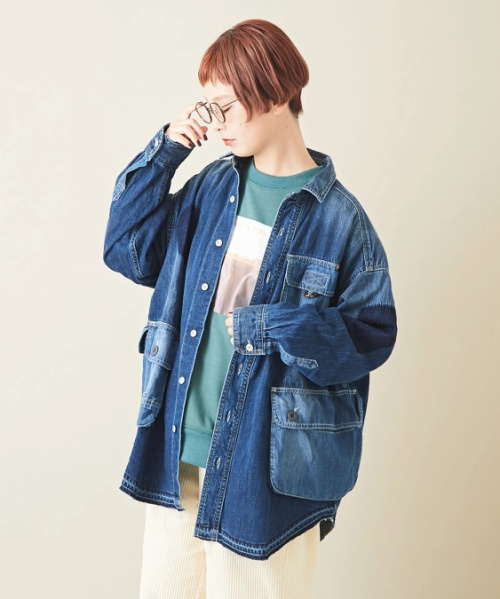 【セール除外商品】9オンスデニム フィッシャーマン シャツ ジャケット