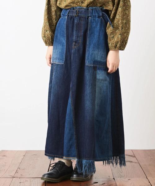 9オンス デニム リメイク風 フレアスカート