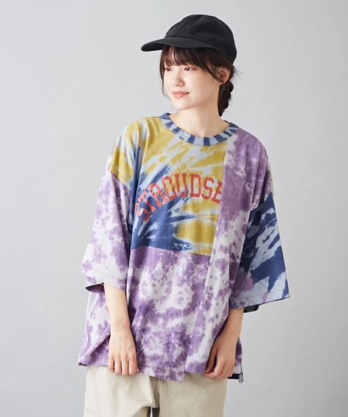 【セール除外商品】天竺 生地 タイダイ染め リメイク風 クルーネック Tシャツ
