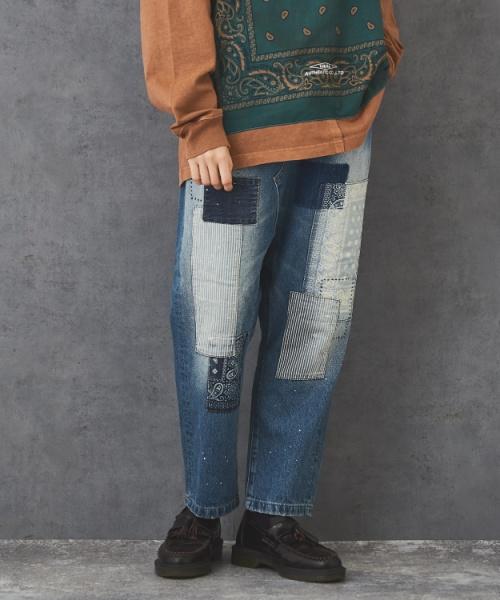 【セール除外商品】12oz デニム リメイク風 サルエルパンツ