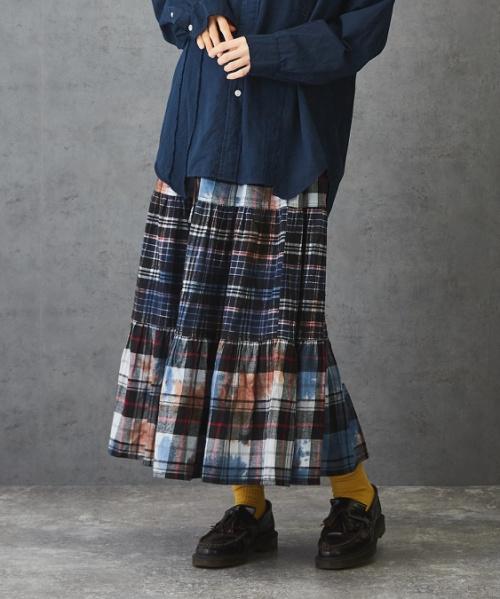 【セール除外商品】 先染め ネルチェック タイダイ ティアードスカート
