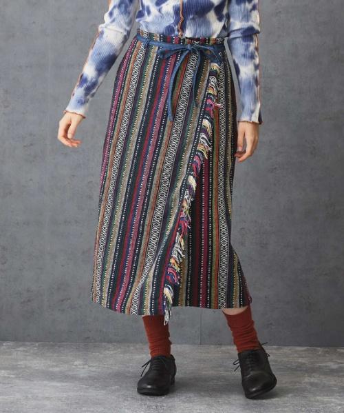【セール除外商品】 ジャガード ストライプ フリンジ ラップ風 スカート
