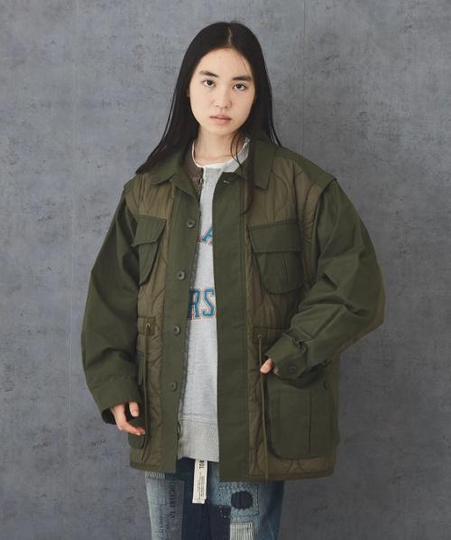 【セール除外商品】 ツイル × ナイロン 中綿キルト 2Way ミリタリージャケット ユニセックス